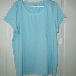 LIZ CLAIBORNE Aqua Short Sleeve Top Size 2X NWT